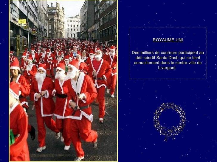 ROYAUME-UNI Des milliers de coureurs participent au défi sportif Santa Dash qui se tient annuellement dans le centre-ville...