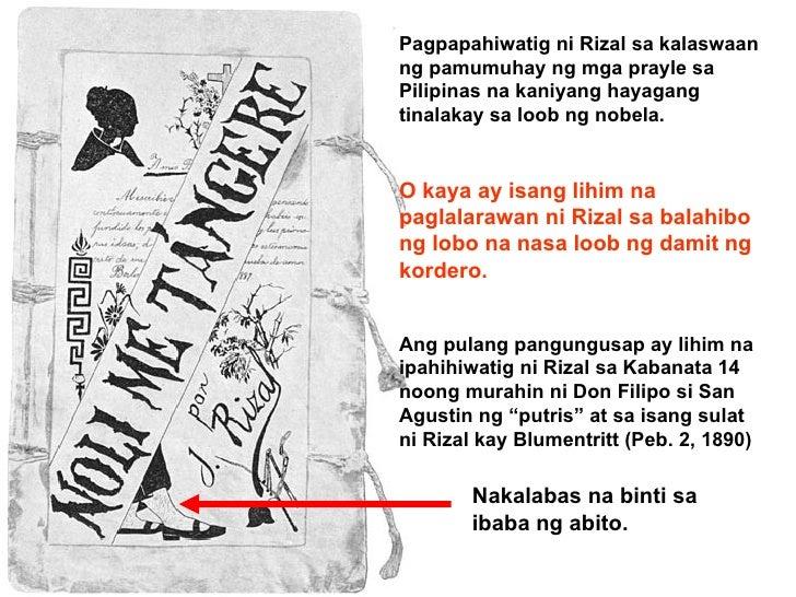 Nakalabas na binti sa ibaba ng abito. Pagpapahiwatig ni Rizal sa kalaswaan ng pamumuhay ng mga prayle sa Pilipinas na kani...