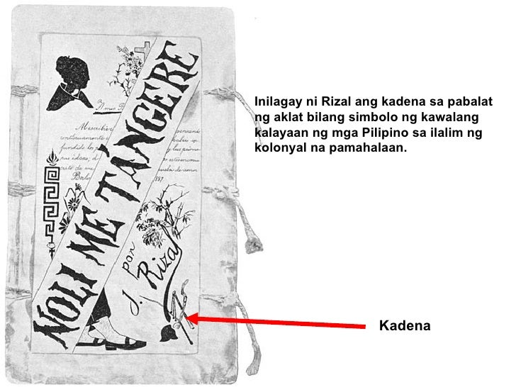 Kadena Inilagay ni Rizal ang kadena sa pabalat ng aklat bilang simbolo ng kawalang kalayaan ng mga Pilipino sa ilalim ng k...