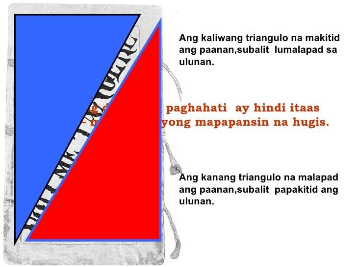 Sa kabilang dako, ang paghahati  ay hindi itaas at ibaba – mayroon tayong mapapansin na hugis. Ang kanang triangulo na mal...