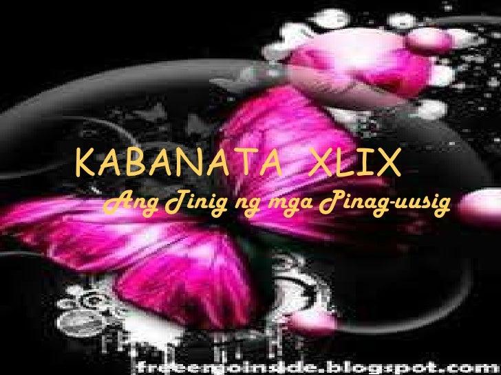 KABANATA XLIX Ang Tinig ng mga Pinag-uusig