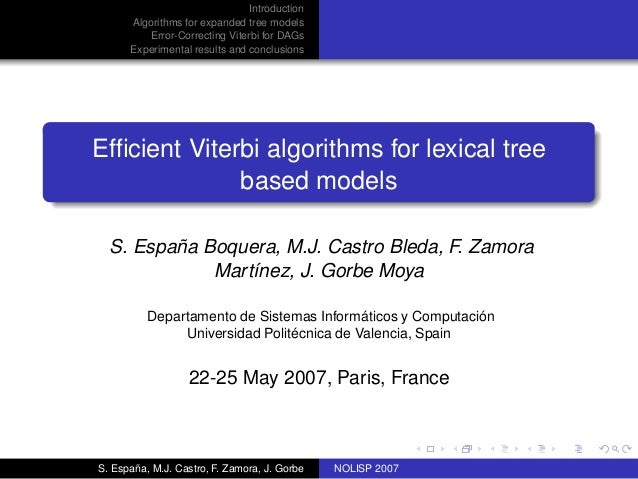 Introduction      Algorithms for expanded tree models          Error-Correcting Viterbi for DAGs      Experimental results...