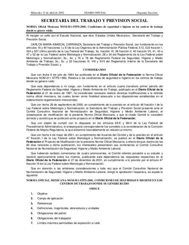 Miércoles 17 de abril de 2002  DIARIO OFICIAL  (Segunda Sección)  SECRETARIA DEL TRABAJO Y PREVISION SOCIAL NORMA Oficial ...