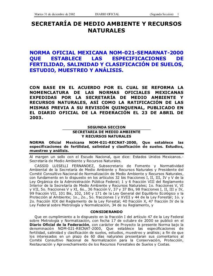 Martes 31 de diciembre de 2002       DIARIO OFICIAL                  (Segunda Sección)   1 SECRETARÍA DE MEDIO AMBIENTE Y ...