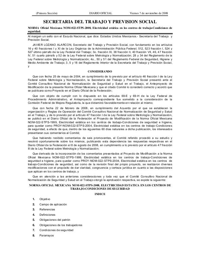 (Primera Sección) DIARIO OFICIAL Viernes 7 de noviembre de 2008SECRETARIA DEL TRABAJO Y PREVISION SOCIALNORMA Oficial Mexi...