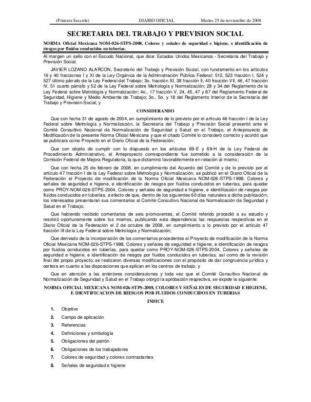 (Primera Sección) DIARIO OFICIAL Martes 25 de noviembre de 2008 SECRETARIA DEL TRABAJO Y PREVISION SOCIAL NORMA Oficial Me...