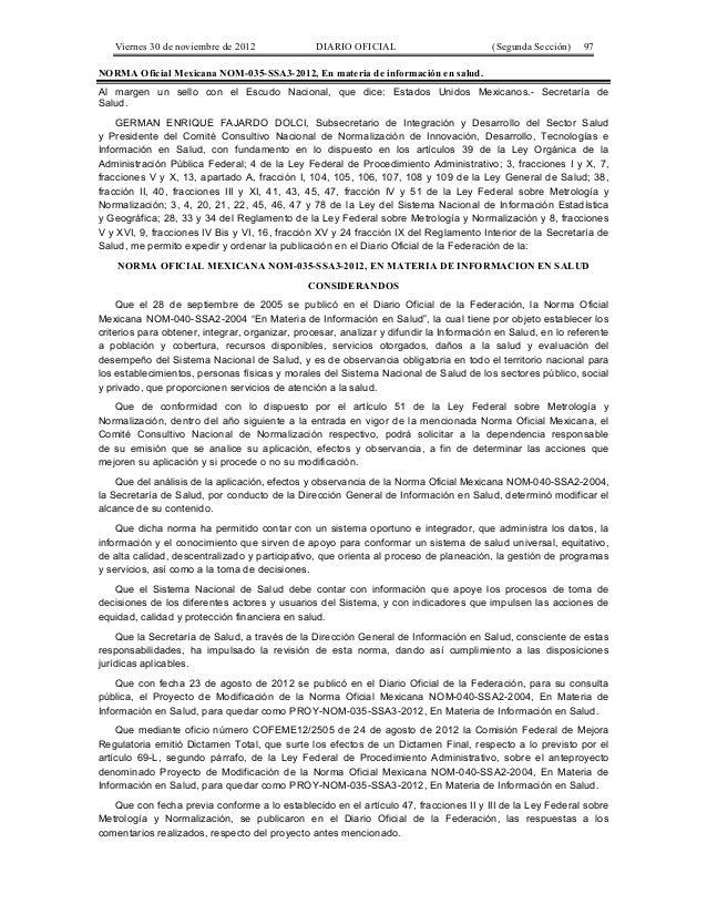 Viernes 30 de noviembre de 2012  DIARIO OFICIAL  (Segunda Sección)  97  NORMA Oficial Mexicana NOM-035-SSA3-2012, En mater...