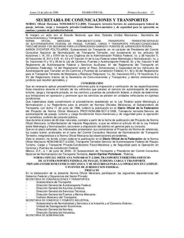 Lunes 24 de julio de 2000                  DIARIO OFICIAL                        (Primera Sección)   17         SECRETARIA...