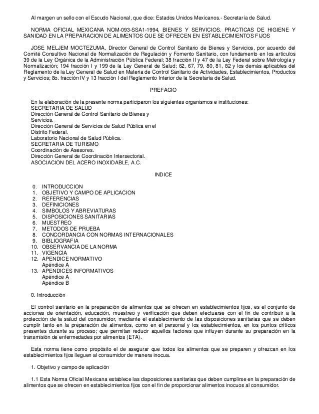 Al margen un sello con el Escudo Nacional, que dice: Estados Unidos Mexicanos.- Secretaría de Salud.  NORMA OFICIAL MEXICA...