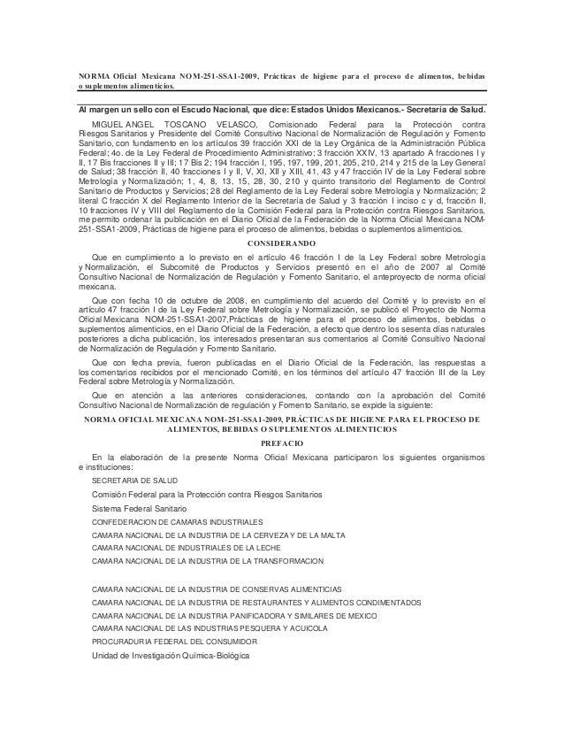 NORMA Oficial Mexicana NOM-251-SSA1-2009, Prácticas de higiene para el proceso de alimentos, bebidas o suplementos aliment...