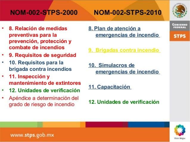 Nom 002 stps 2010 for Medidas contra incendios