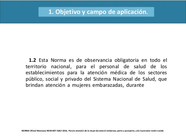 NORMA Oficial Mexicana NOM-007-SSA2-2016, Para la atención