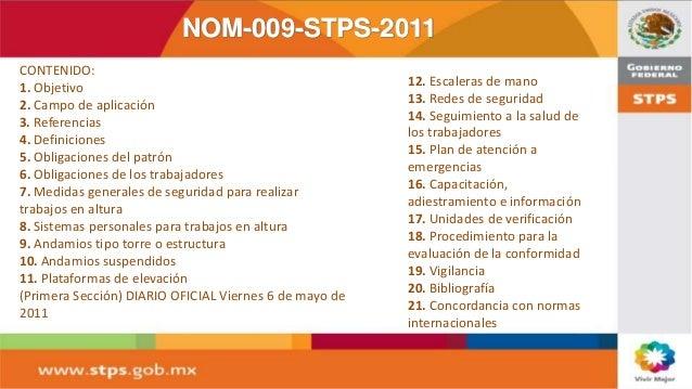 nom 009 stps 2011 condiciones de seguridad para realizar