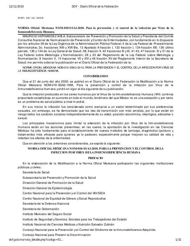 DOF: 10/11/2010 NORMA Oficial Mexicana NOM-010-SSA2-2010, Para la prevención y el control de la infección por Virus de la ...