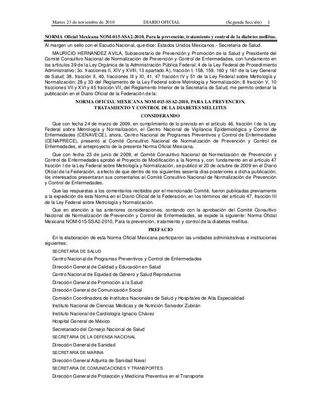Martes 23 de noviembre de 2010               DIARIO OFICIAL                           (Segunda Sección)   1NORMA Oficial M...
