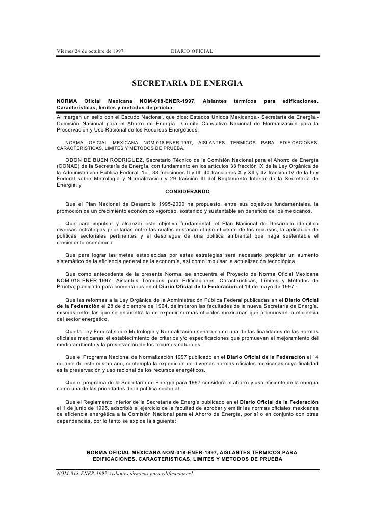 Viernes 24 de octubre de 1997                   DIARIO OFICIAL                                     SECRETARIA DE ENERGIA  ...