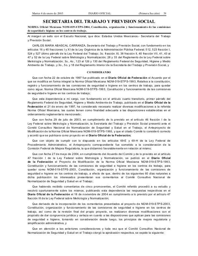 Martes 4 de enero de 2005                     DIARIO OFICIAL                          (Primera Sección)   39            SE...