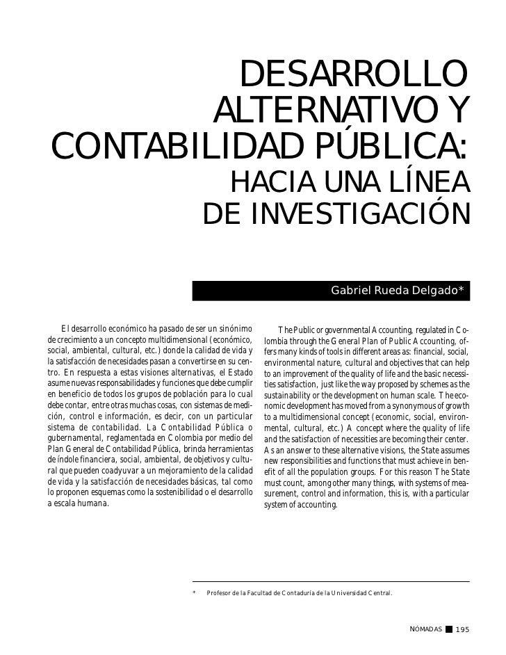 DESARROLLO        ALTERNATIVO YCONTABILIDAD PÚBLICA:                                                HACIA UNA LÍNEA       ...