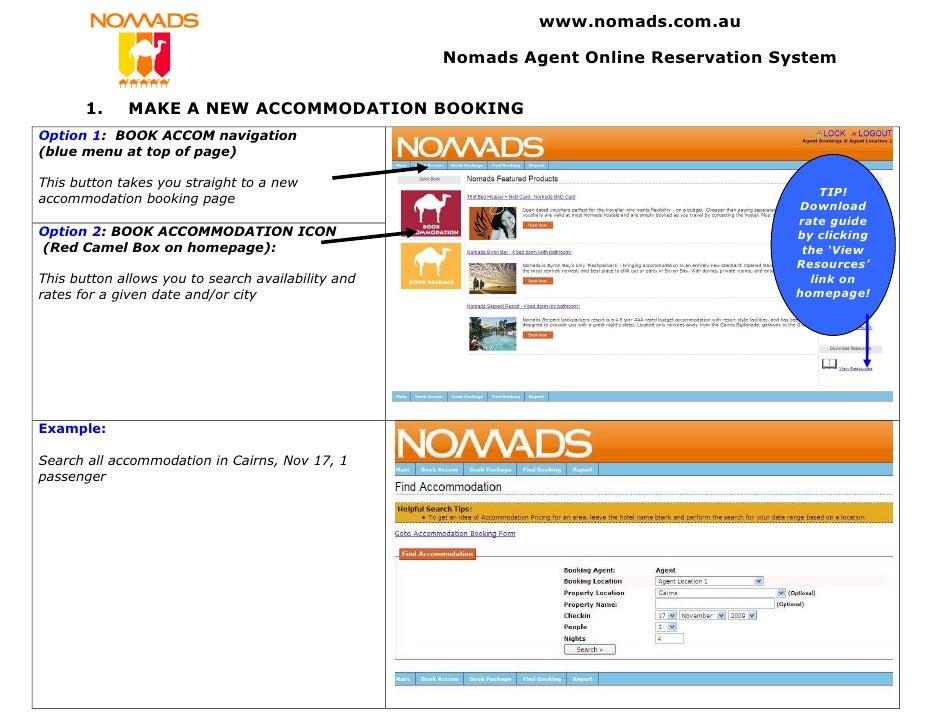 www.nomads.com.au                                                      Nomads Agent Online Reservation System          1. ...