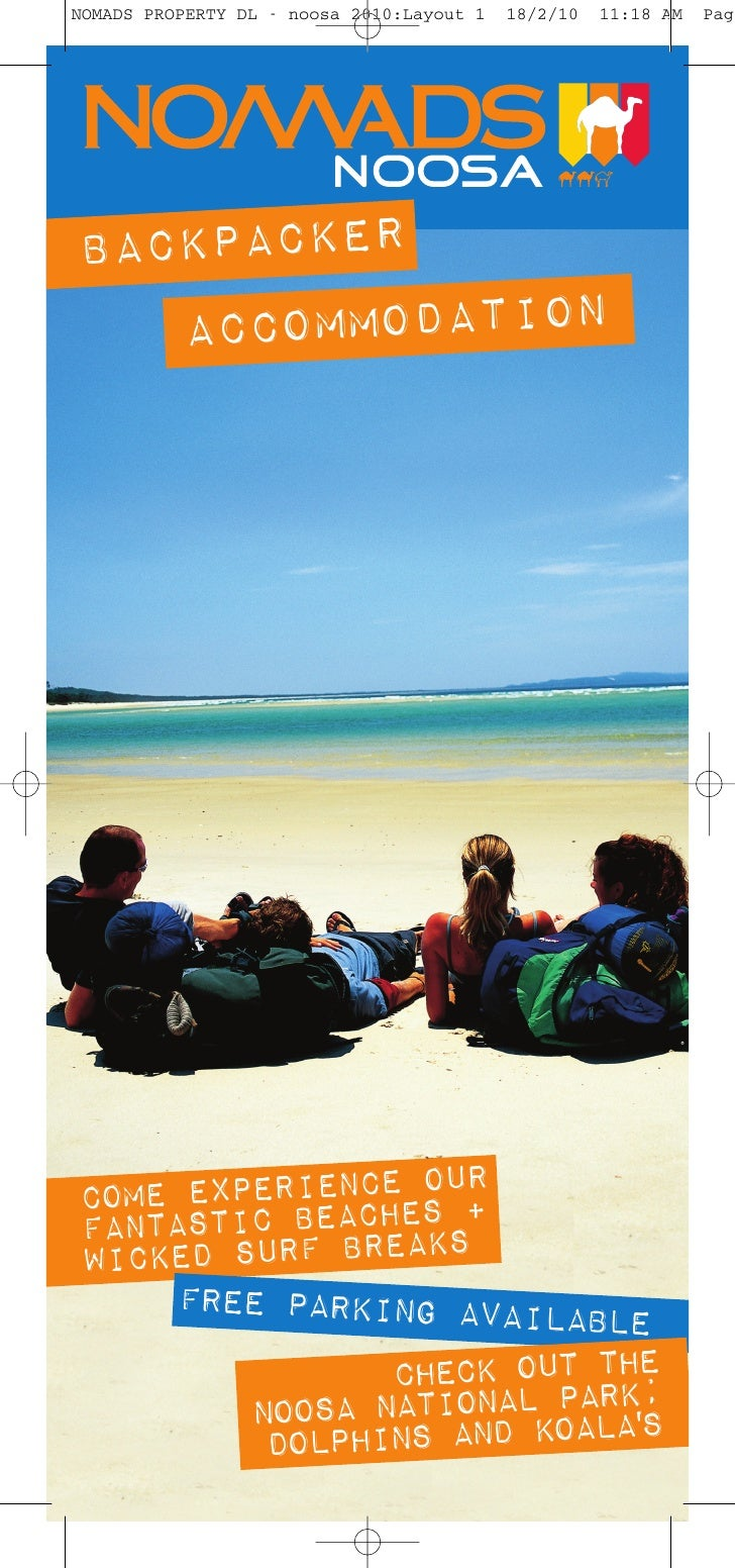 NOMADS PROPERTY DL - noosa 2010:Layout 1   18/2/10   11:18 AM   Page     BACKPACKER    ACCOMMODATION               IENCE O...