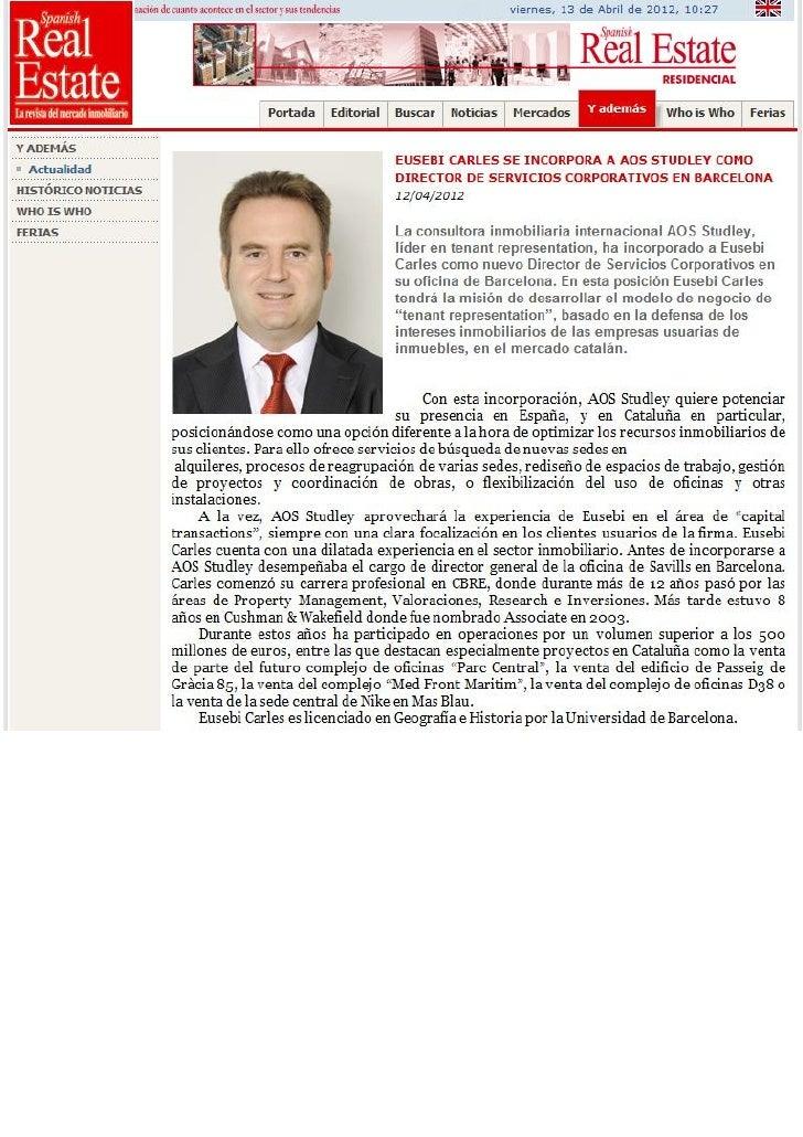 Nombramiento Eusebi Carles @ AOS Studley - Spanish Real Estate - 13.04.2012