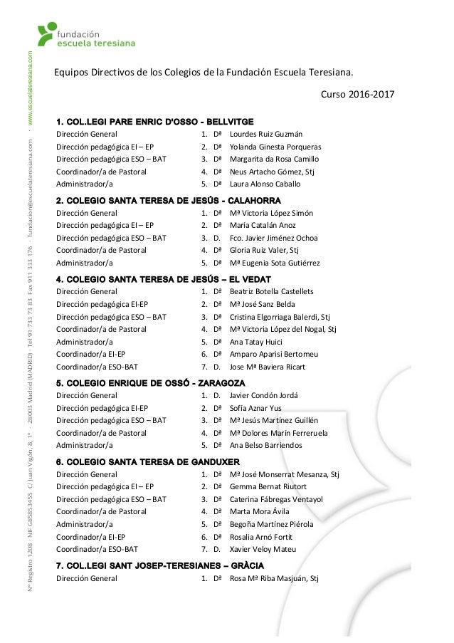 Equipos Directivos de los Colegios de la Fundación Escuela Teresiana. Curso 2016-2017 1. COL.LEGI PARE ENRIC D'OSSO - BELL...