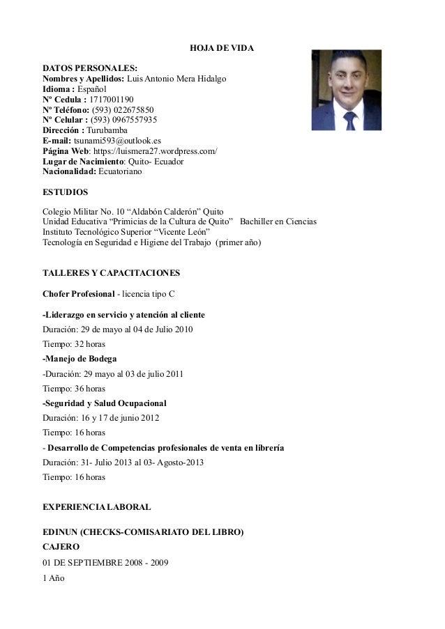 Nombre Curriculo Vitae Luis Mera