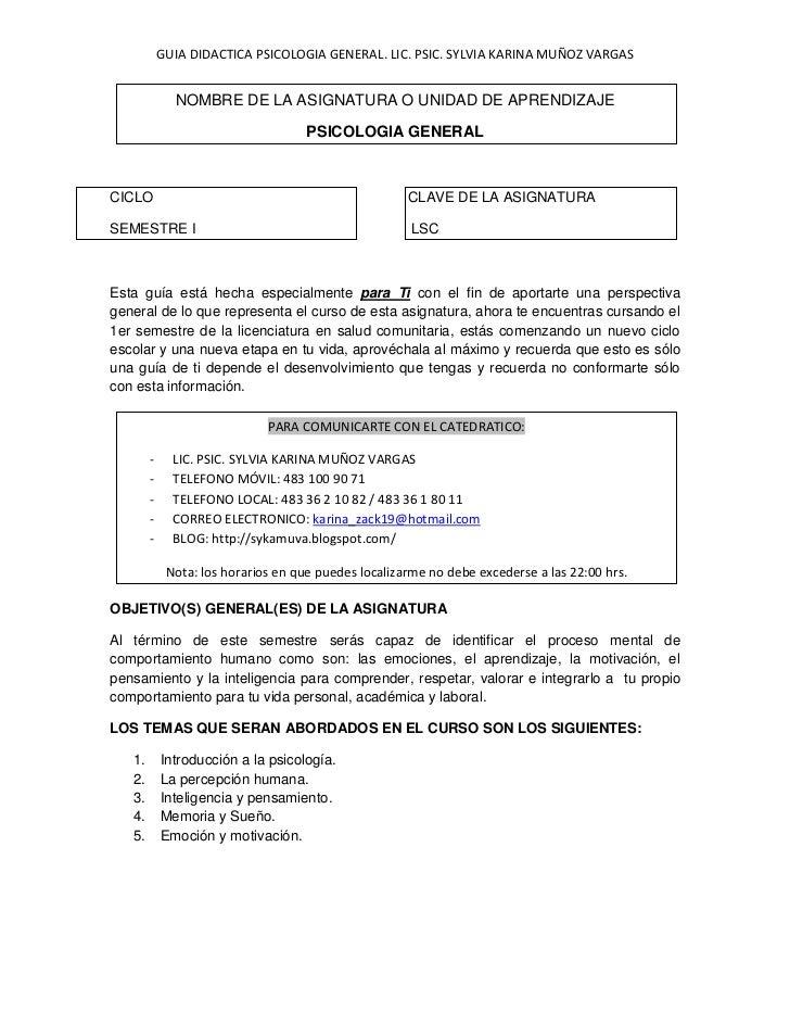 GUIA DIDACTICA PSICOLOGIA GENERAL