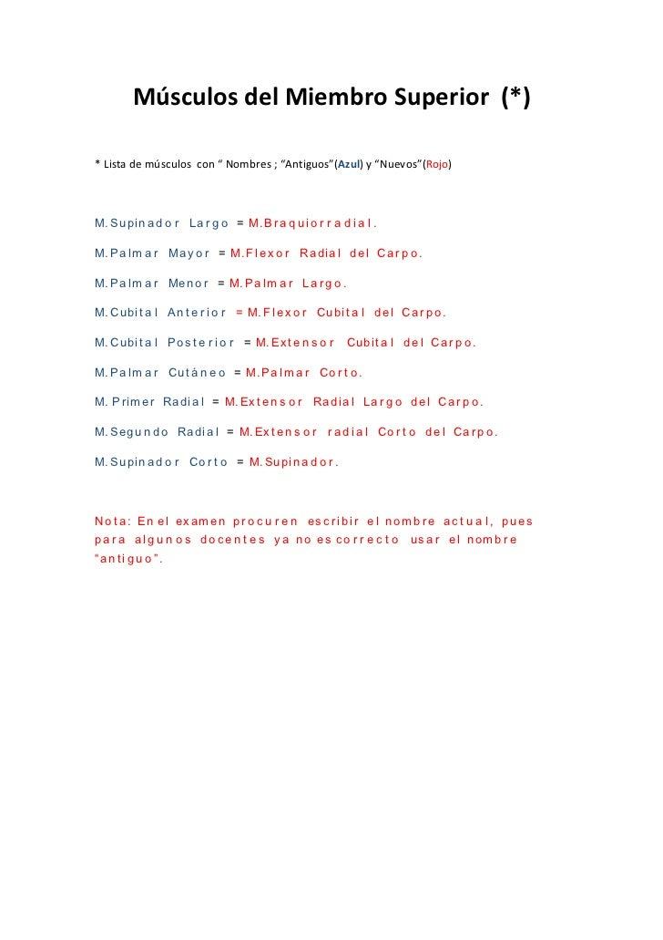 Nombres actuales (Musculos del Miembro Superior)