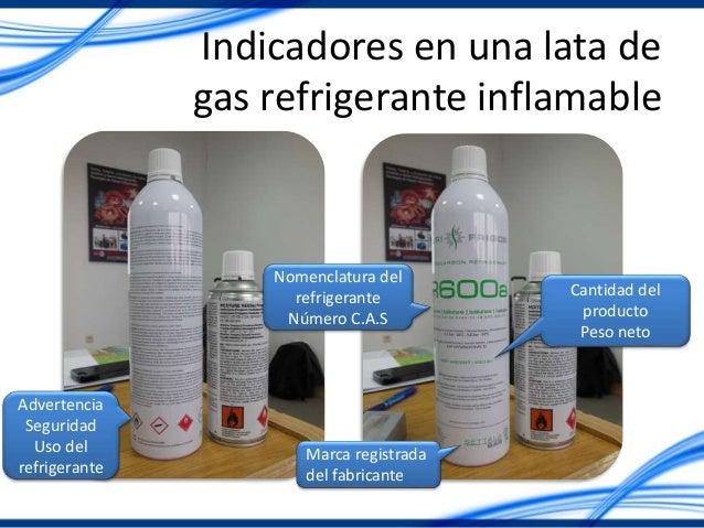 Indicadores en una lata de gas refrigerante inflamable Advertencia Seguridad Uso del refrigerante Marca registrada del fab...