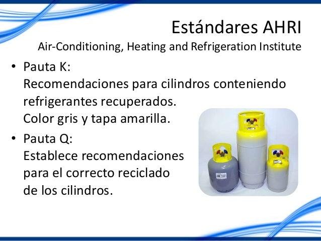 Estándares AHRI Air-Conditioning, Heating and Refrigeration Institute • Pauta K: Recomendaciones para cilindros conteniend...