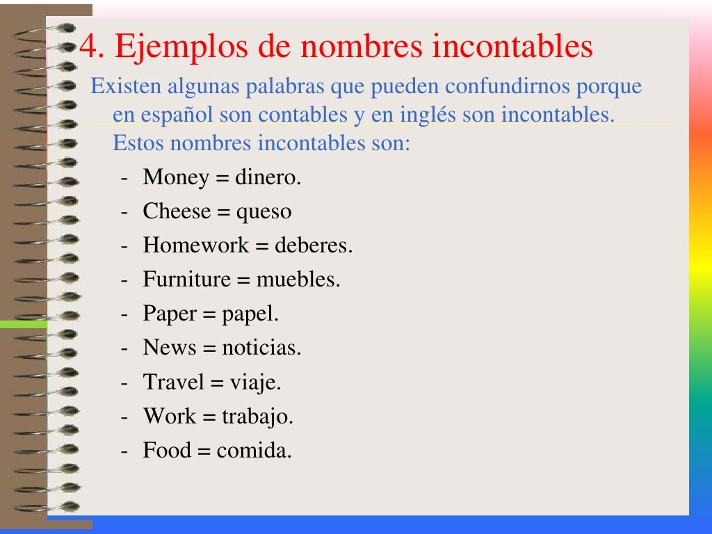 homework es contable o incontable