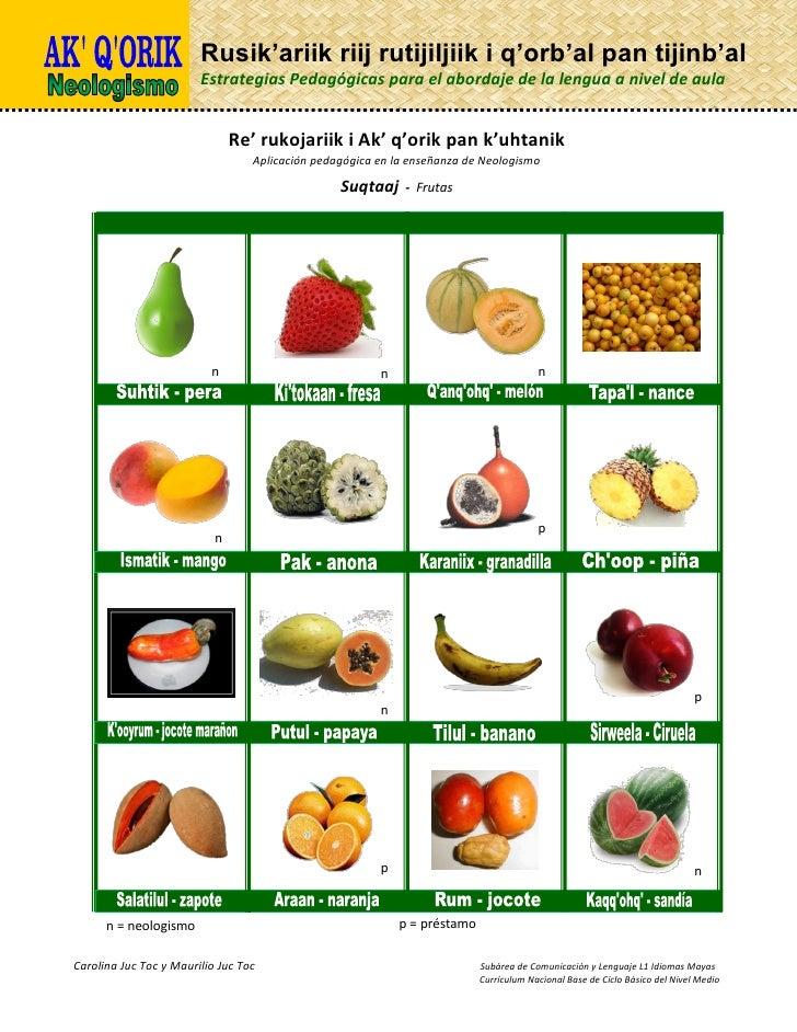 Nombres de frutas en poqomchi