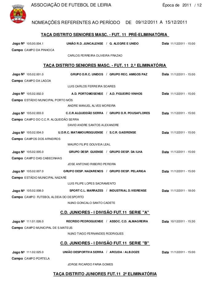 ASSOCIAÇÃO DE FUTEBOL DE LEIRIA                                        Época de 2011 / 12            NOMEAÇÕES REFERENTES ...