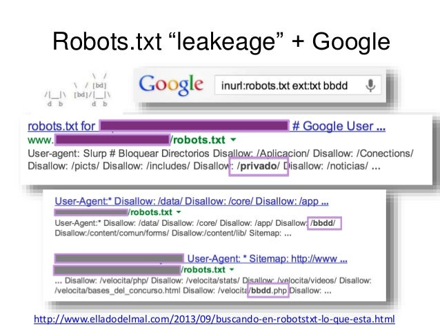 """Robots.txt """"leakeage"""" + Google  http://www.elladodelmal.com/2013/09/buscando-en-robotstxt-lo-que-esta.html"""