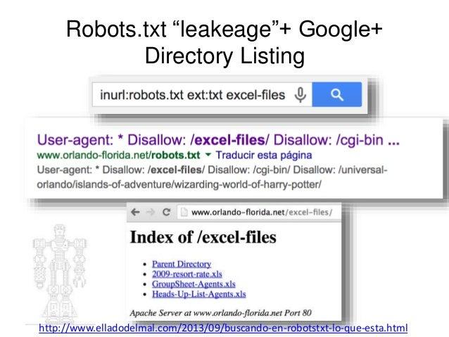 """Robots.txt """"leakeage""""+ Google+  Directory Listing  http://www.elladodelmal.com/2013/09/buscando-en-robotstxt-lo-que-esta.h..."""