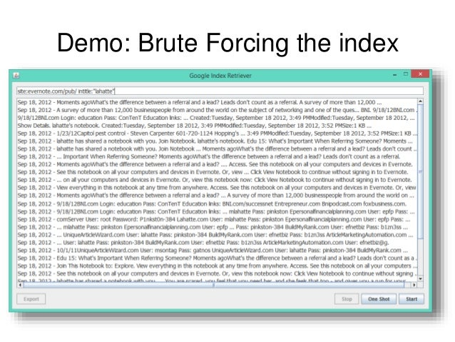 Demo: Brute Forcing the index