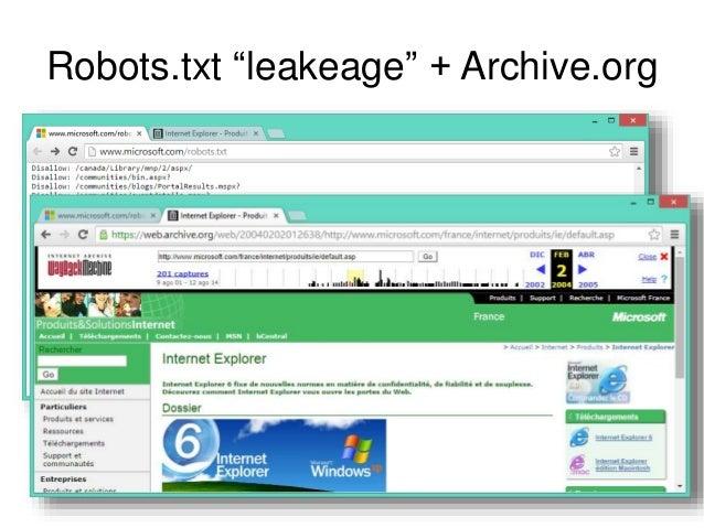 """Robots.txt """"leakeage"""" + Archive.org"""