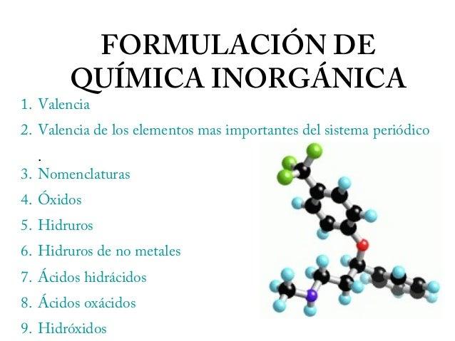FORMULACIÓN DE QUÍMICA INORGÁNICA 1. Valencia 2. Valencia de los elementos mas importantes del sistema periódico . 3. Nome...