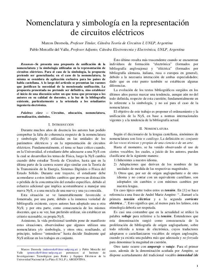 Nomenclatura y simbología en la representación                  de circuitos eléctricos                   Marcos Deorsola,...