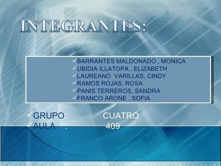 <ul><ul><ul><ul><ul><li>BARRANTES MALDONADO , MONICA  </li></ul></ul></ul></ul></ul><ul><ul><ul><ul><ul><li>UBIDIA ILLATOP...