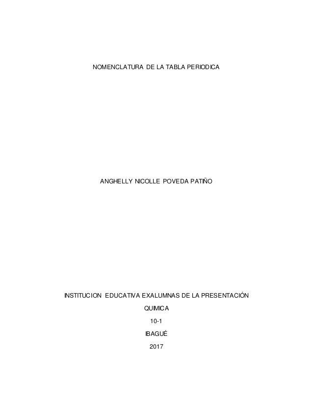 Nomenclatura de la tabla periodica nomenclatura de la tabla periodica anghelly nicolle poveda patio institucion educativa exalumnas de la presentacin quimi urtaz Choice Image