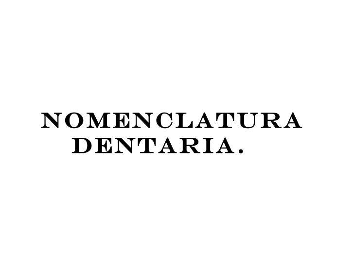 NOMENCLATURA DENTARIA.