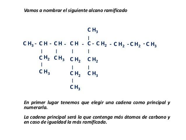CVamos a nombrar el siguiente alcano ramificadoCCCCCCCCCCCCC C C CCH3 HH3H2HH3HH2H2H3H3H2H3H2 H2 H2 H3- - - - - - - -En pr...