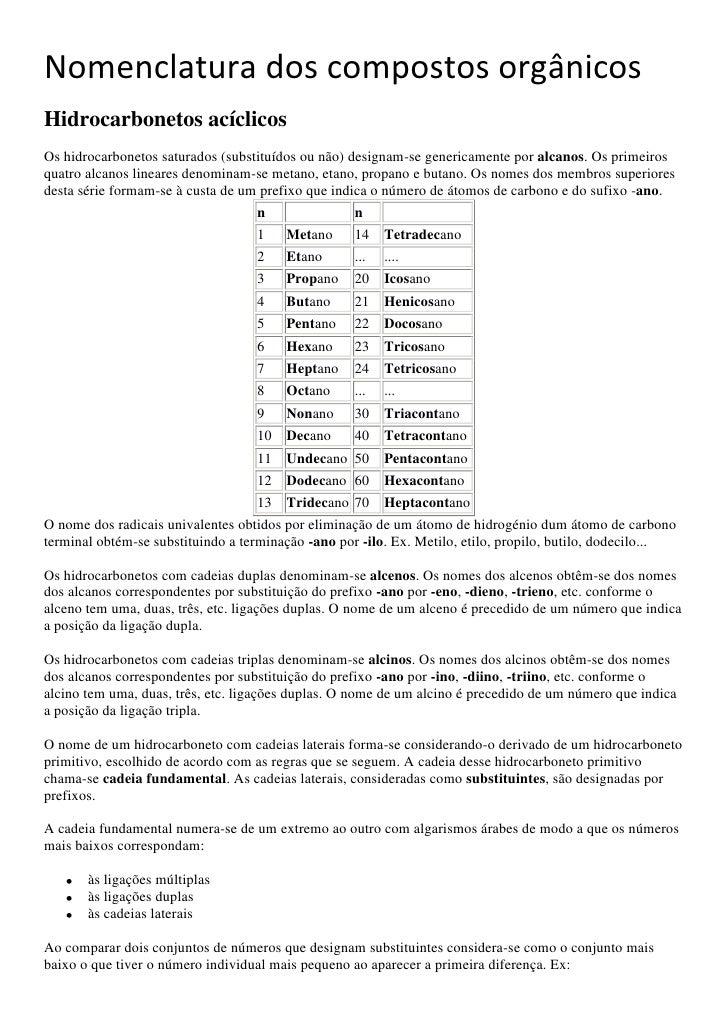 Nomenclatura dos compostos orgânicos<br />Hidrocarbonetos acíclicos<br />Os hidrocarbonetos saturados (substituídos ou não...