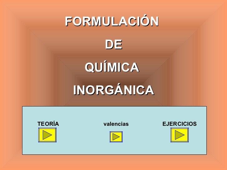 FORMULACIÓN  DE QUÍMICA  INORGÁNICA TEORÍA valencias EJERCICIOS