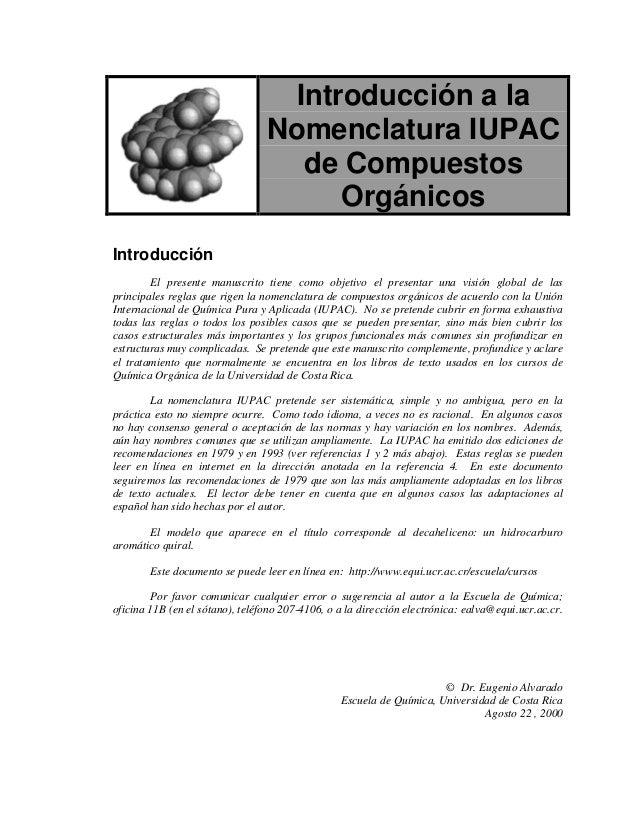 Introducción a la                                 Nomenclatura IUPAC                                    de Compuestos     ...