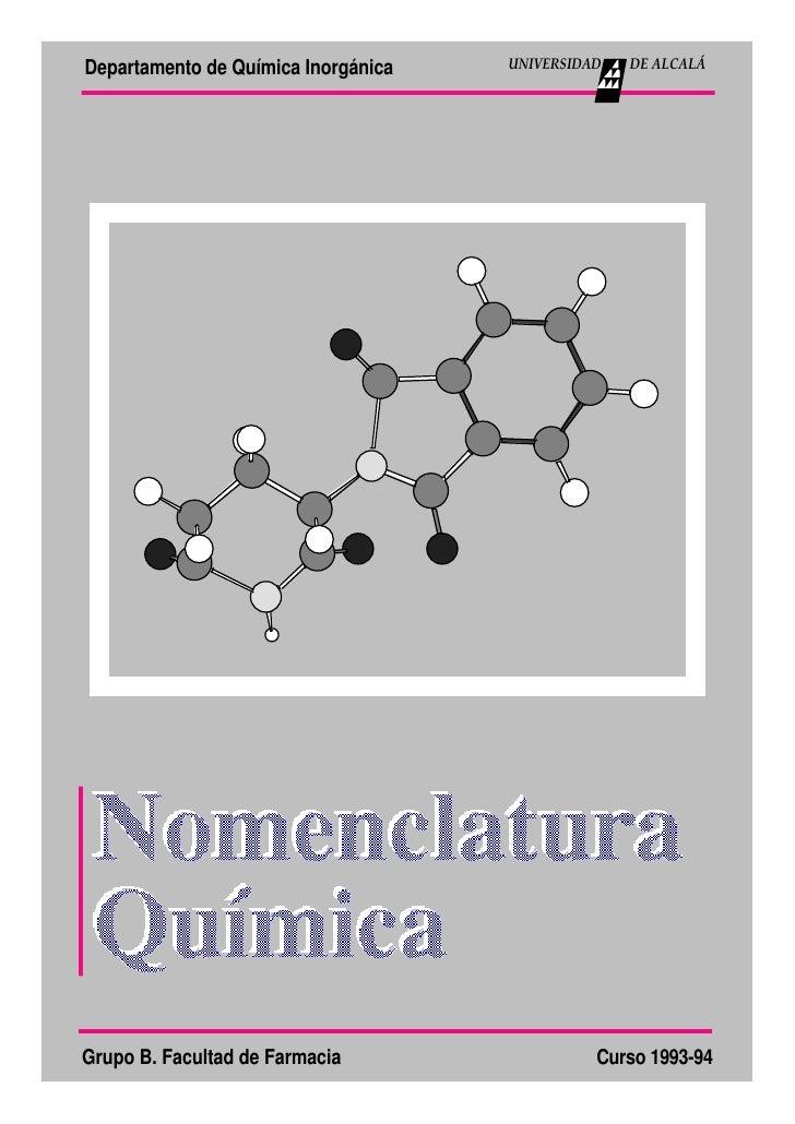 Departamento de Química Inorgánica   UNIVERSIDAD   DE ALCALÁ     Grupo B. Facultad de Farmacia                  Curso 1993...
