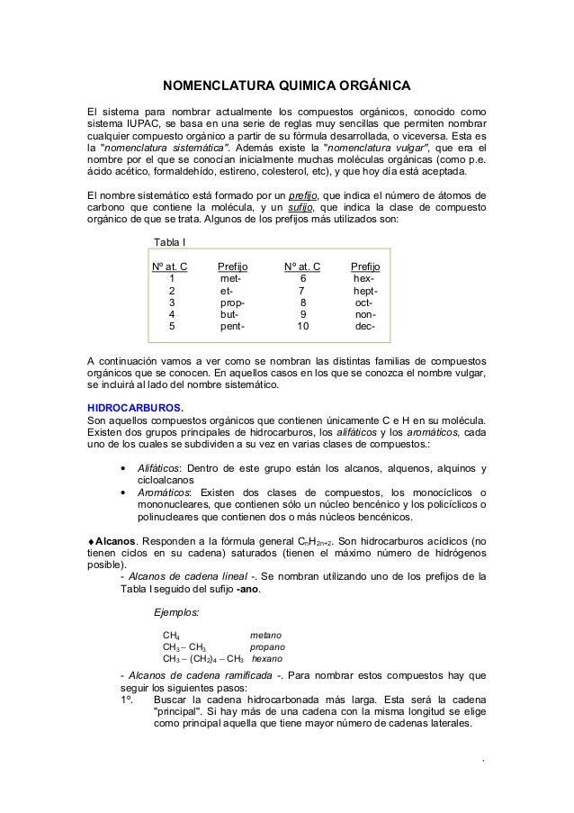 1 NOMENCLATURA QUIMICA ORGÁNICA El sistema para nombrar actualmente los compuestos orgánicos, conocido como sistema IUPAC,...