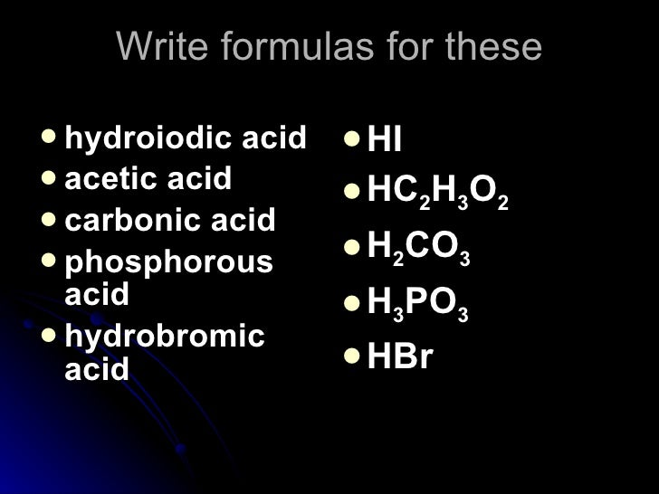 Nomenclature 4 acid base